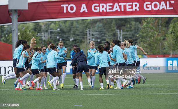 Members of France's national team take part in a training session at Lansdowne Stadium in Ottawa on June 16 2015 on the eve of the team's 2015 FIFA...