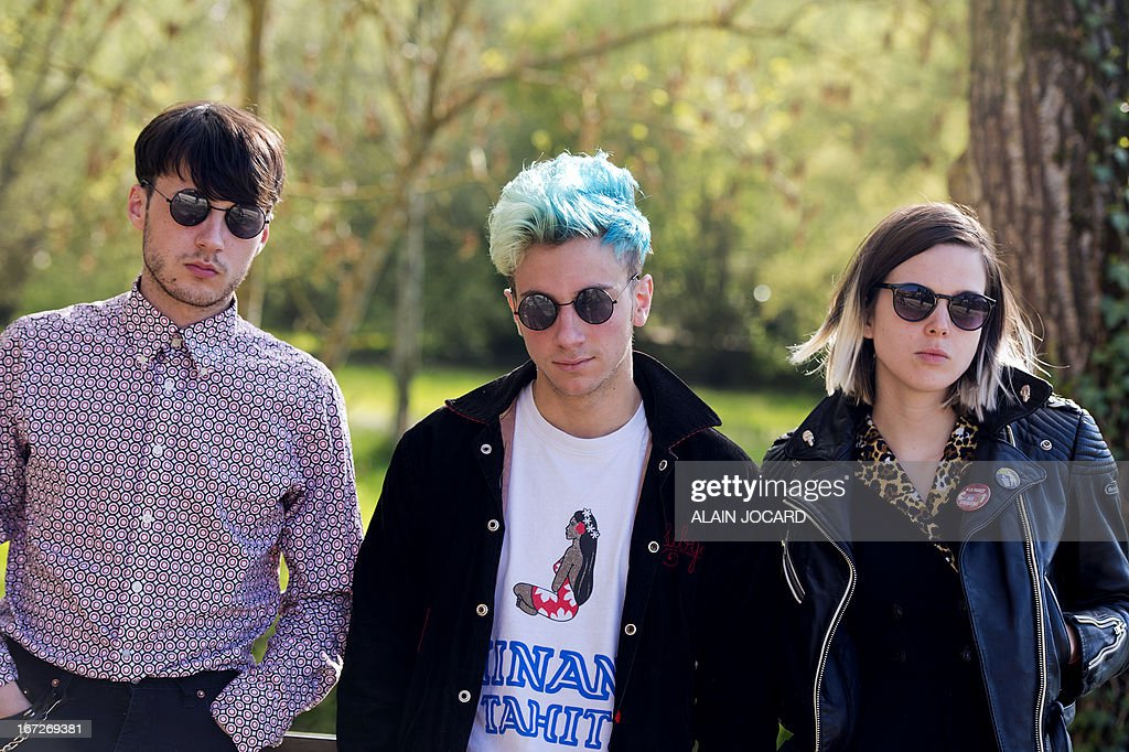 Members of French pop band 'La Femme' pose during the 37th edition of 'Le Printemps de Bourges' rock and pop festival in the French central city of Bourges on April 23, 2013. AFP PHOTO/ ALAIN JOCARD