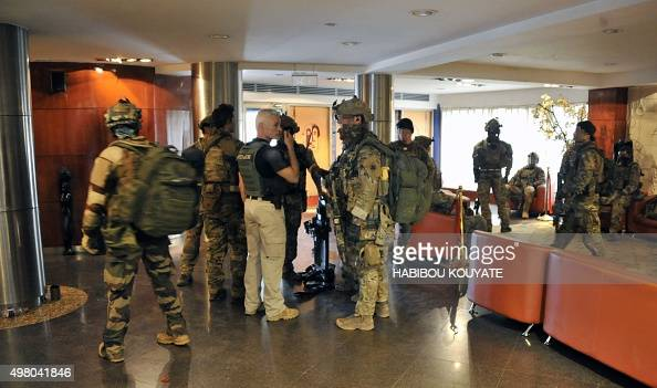 Members of French special forces are seen inside the Radisson Blu hotel in Bamako on November 20 after the assault of security forces Suspected...