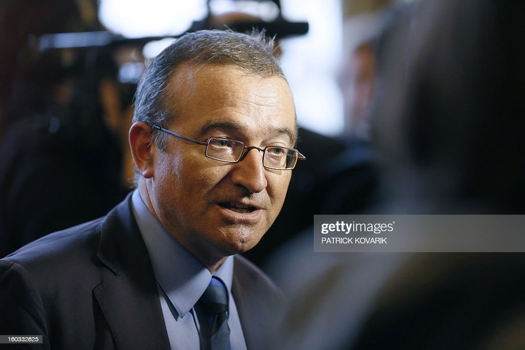 Members of French UMP opposition right-wing party MP Herve Mariton answers journalists' questions following the weekly session of questions to the government on January 29, 2013 at the National Assembly in Paris. AFP PHOTO / PATRICK KOVARIK