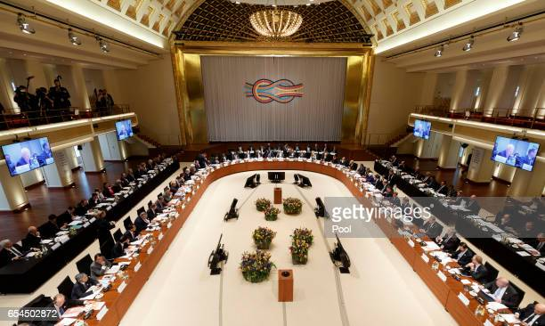 Members of G20 sitting in the Convention Center during the G20 Finance Ministers and Central Bank Governors meeting at the Kurhaus on March 17 2017...