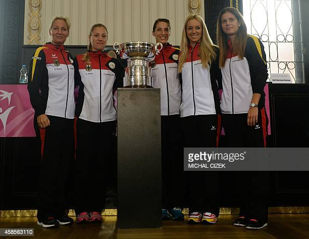 Members of German Fed Cup team captain Barbara Rittner Angelique Kerber Andrea Petkovic Sabine Lisicky and Julia Goerges pose after the International...