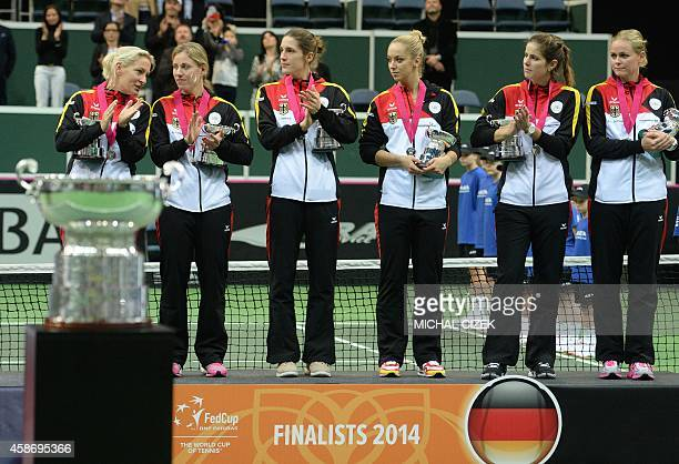 Members of German Fed Cup team captain Barbara Rittner Angelique Kerber Andrea Petkovic Julia Goerges and Sabine Lisicky pose for photographers at...