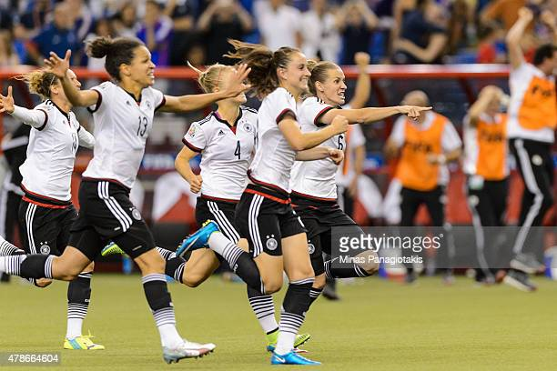 Members of Germany take to the pitch after defeating France on penalty kicks during the 2015 FIFA Women's World Cup quarter final match at Olympic...