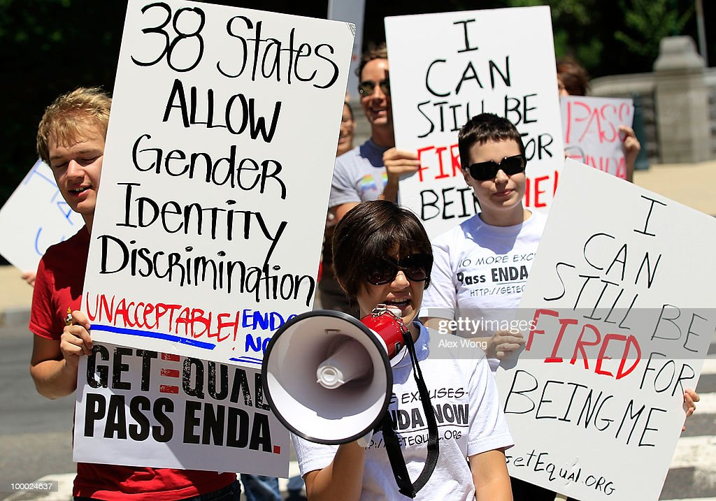 Members of GetEQUAL a lesbian gay bisexual and transgender organization stage a protest on Capitol Hill May 20 2010 in Washington DC Activists call...
