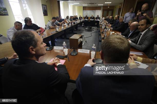 Members of GMS interunion managers of Renault PSA and potential buyer firm GMD and regional and local elected representatives meet over the situation...
