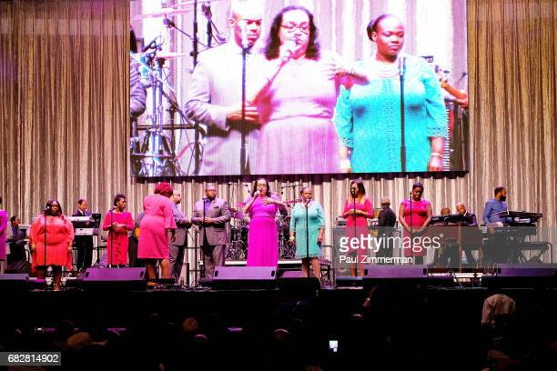 Members of Greater AME Cathedral Mass Choir perfom at the 35th Anniversary Mother's Day Weekend Gospelfest 2017 at Prudential Center on May 13 2017...