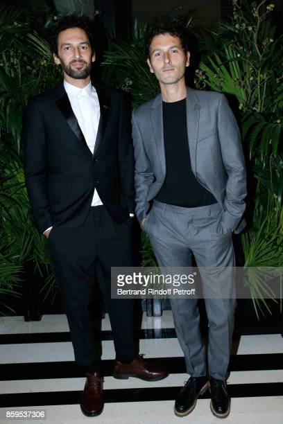 Members of Group AaRon Olivier Coursier and Simon Buret attend the 'Diner des Amis de Care' at Hotel Peninsula Paris on October 9 2017 in Paris France