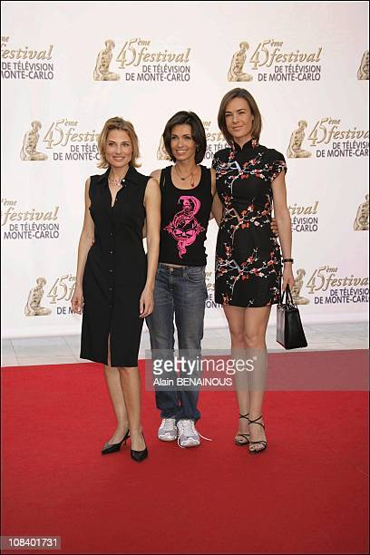 Members of group of the series 'Under The Sun ' Adeline Blondieau Christine Lemler and Benedicte Delmas in Monaco on June 30 2005