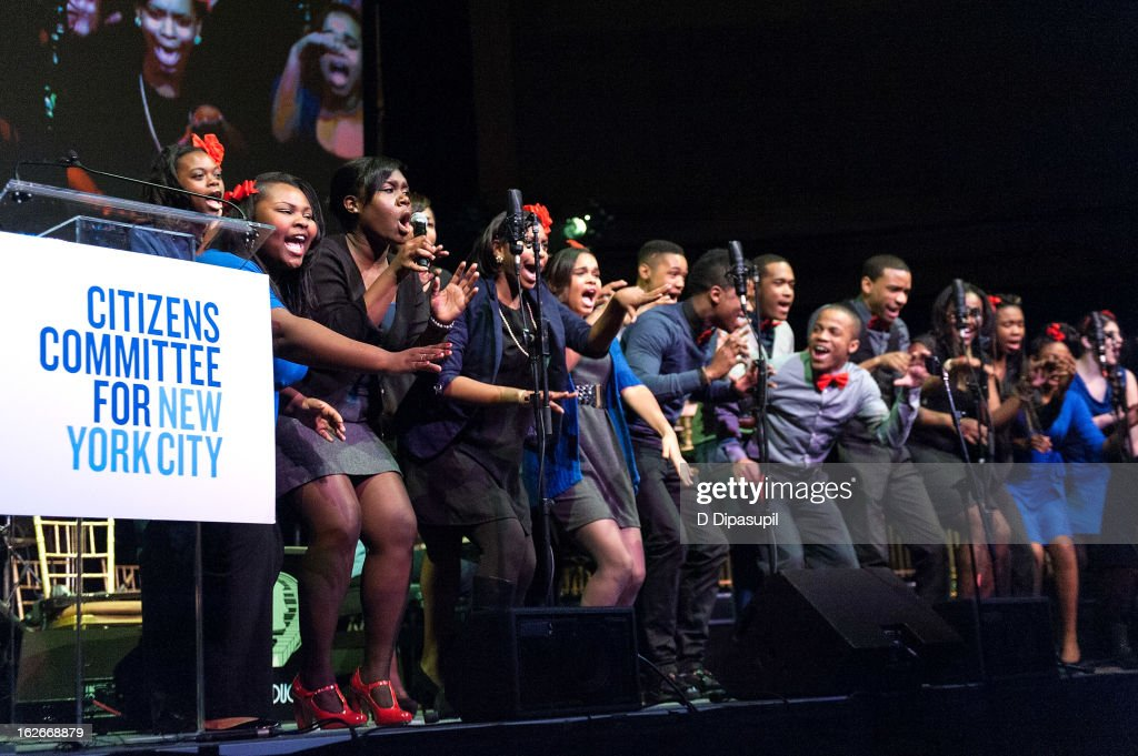 Members of Harlem's Gospel for Teens Choir perform on stage during the New Yorker For New York Gala 2013 at Gotham Hall on February 25, 2013 in New York City.