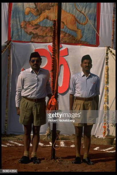 Members of Hindu nationalist Rashtriya Swayamsevak Sangh during RSS annual function flag raising