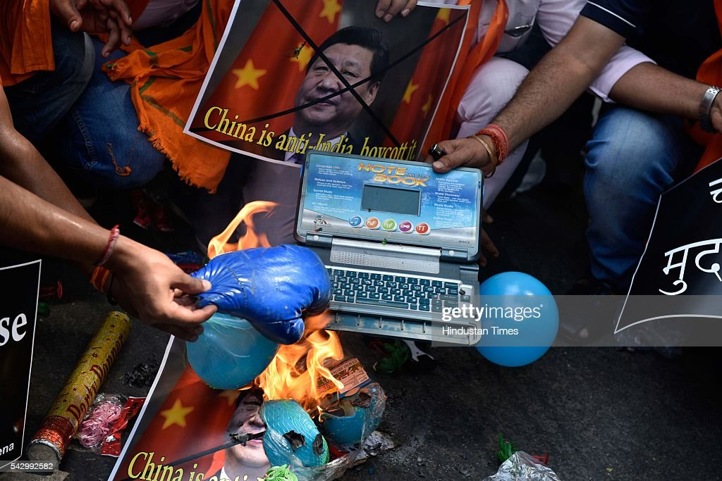 Hindu Sena burnt Chinese products as a mark of protest against Chinese opposition of Indian Membership to NSG, on June 25, 2016 in New Delhi, India. China and Switzerland opposed India's bid for Nuclear Suppliers' Group (NSG) membership in Seoul meet.