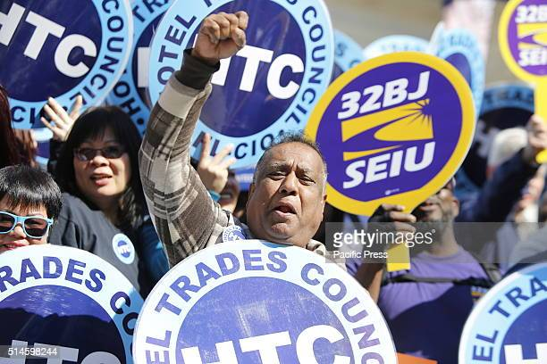 Members of Hotel Trades Council and 32 BJ of the Service Employees International Union enthuse the mayor's comments NYC mayor Bill de Blasio...