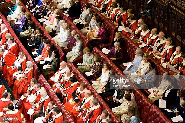 Members of House of Lords in robes seated at State Opening of Parliament Houses of Parliament England United Kingdom