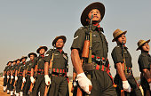 Members of Indian army Assam regiment soldiers participate in the final full dress rehearsal for the Republic Day parade in Secunderabad the twin...