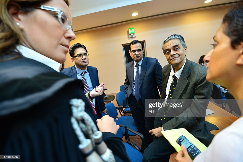 Members of Indian Government attend the trial to Giuseppe Orsi former head of the Italian aerospace and defense giant Finmeccanica on June 19, 2013 at the courtroom in Busto Arsizio near Varese. The former head of Finmeccanica goes on trial in a case involving alleged bribes to win a 560 Mio euro helicopter contract in India.