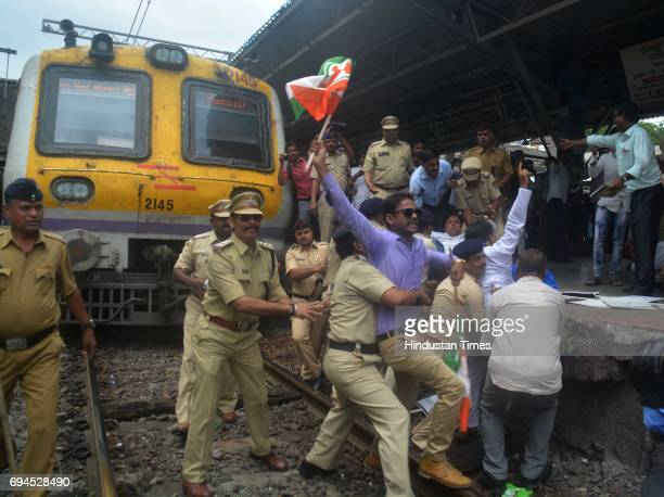 Members of Indian Youth Congress organise train roko protest against the killing of farmers who were shot at Mandsaur Madhya Pradesh at Ghotkopar...