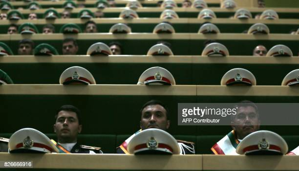 TOPSHOT Members of Iran's Armed Forces attend President Hassan Rouhani's swearing in ceremony in Tehran on August 5 2017 Rouhani warned the US...