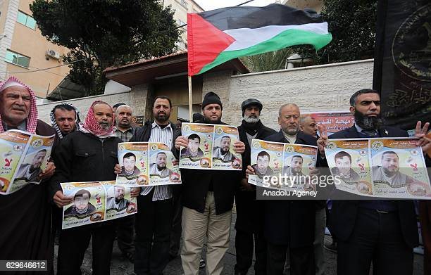 Members of Islamic Jihad Movement in Palestine stage a demonstration to show solidarity with hungerstriking Palestinian prisoners in Israeli jails in...