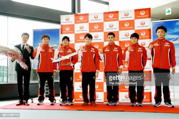 Members of Japan men's artistic gymnastic team pose for photographs on departure at Narita International Airport on September 22 2017 in Narita Chiba...