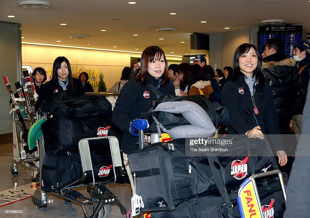 Members of Japan Women's Ice Hockey team are seen upon arrival at Narita International Airport on February 12, 2013 in Narita, Chiba, Japan. Japan Women's Ice Hockey team qualified for Sochi Olympic.