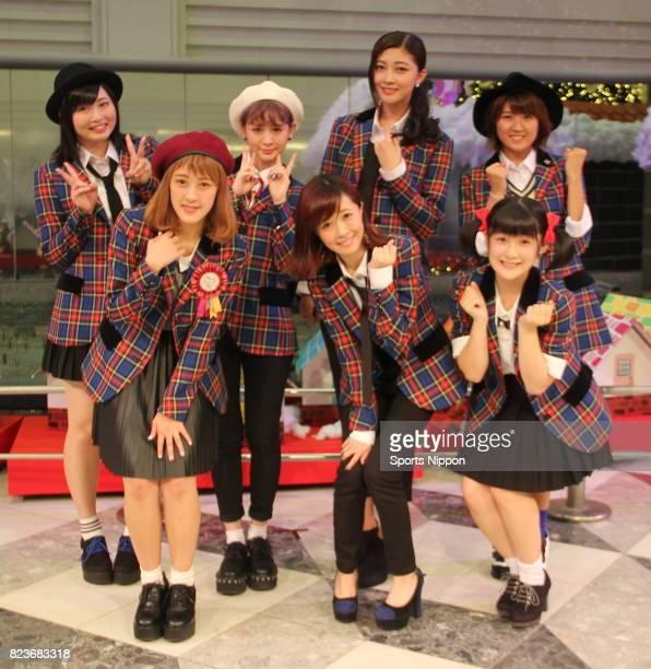 Members of Japanese idol group Berryz Kobo attend launch PR event of new song 'Romance wo Katatte / Towa no Uta' on November 12 2014 in Tokyo Japan