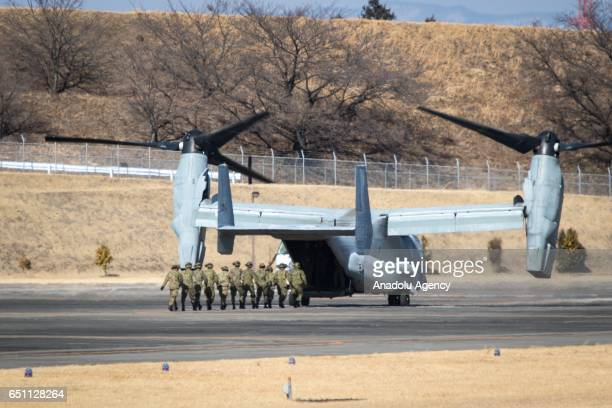 Members of Japan's Self Defence Forces is seen during the US Japan joint training drill in JGSDF Camp Soumagahara Gunma prefecture Japan on March 10...