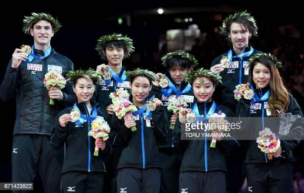 Members of Japan's winning skating team Sumire Suto Mai Mihara Wakaba Higuchi and Kana Muramoto Francis BoudreauAudet Yuzuru Hanyu Shoma Uno Chris...