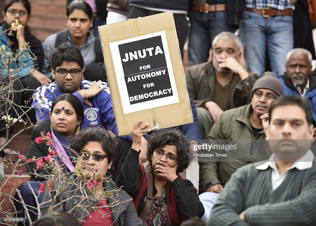 Members of JNU teachers' association during a press conference at JNU campus, on February 14, 2016 in New Delhi, India. JNU teachers' association president Ajay Patnaik said that the university is very progressive and always gives space to the marginalised section of the society. Jawaharlal Nehru University (JNU) teachers association said that they have never supported any unconstitutional activity inside the campus and have always opposed it.