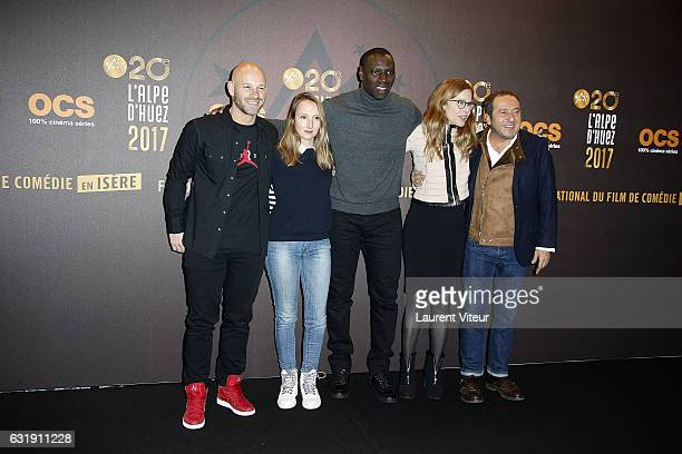 Members of Jury Franck Gastambide Audrey Lamy Omar Sy Pascale Arbillot and Patrick Timsit attend the 20th L'Alpe D'Huez International Comedy Film...