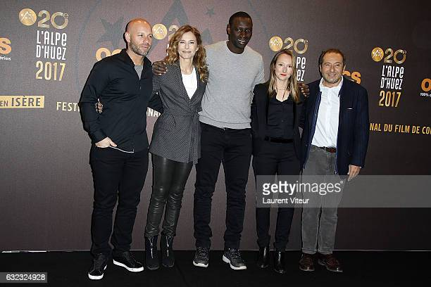 Members of Jury Franck Gastambide Pascale Arbillot Omar Sy Audrey Lamy and Patrick Timsit attend Closing Ceremony during the 20th l'Alpe d'Huez...