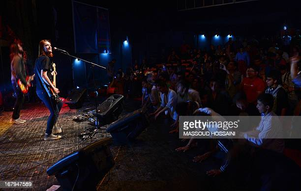 Members of Kabulbased band White City British national Ruth Owen on bass and vocals and guitarist Australian Travis Beard perform during The Sound...