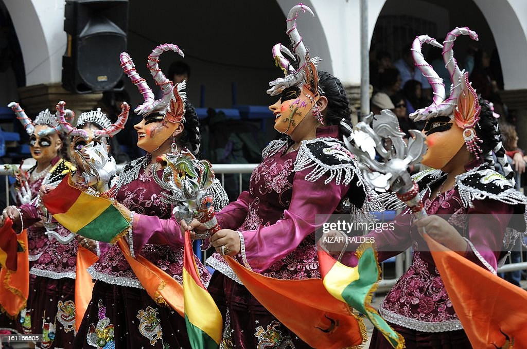 Members of La Diablada dance troupe take part in Carnival of Oruro, in the mining town of Oruro, 240 km south of La Paz on February 9, 2013. The Carnival of Oruro was inscribed by UNESCO on the Representative List of the Intangible Cultural Heritage of Humanity in 2008.