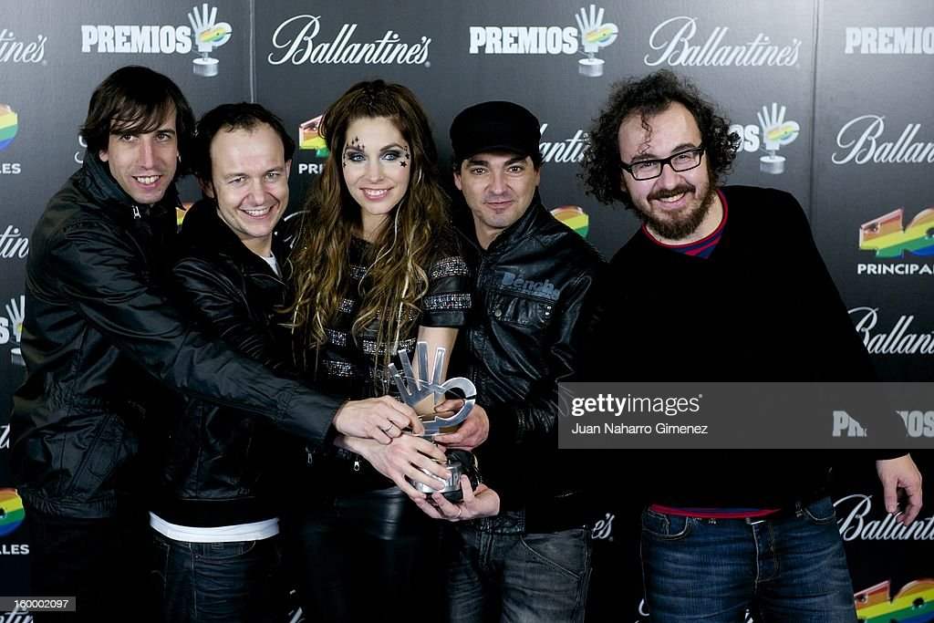Members of La Oreja de Van Gogh poses in the press room during 40 Principales Awards 2012 at the Palacio de Deportes on January 24, 2013 in Madrid, Spain.