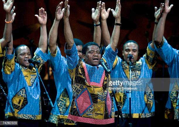Members of Ladysmith Black Mambazo perform during the Library Of Congress Gershwin Prize For Popular Song Gala at the Warner Theater May 23 2007 in...