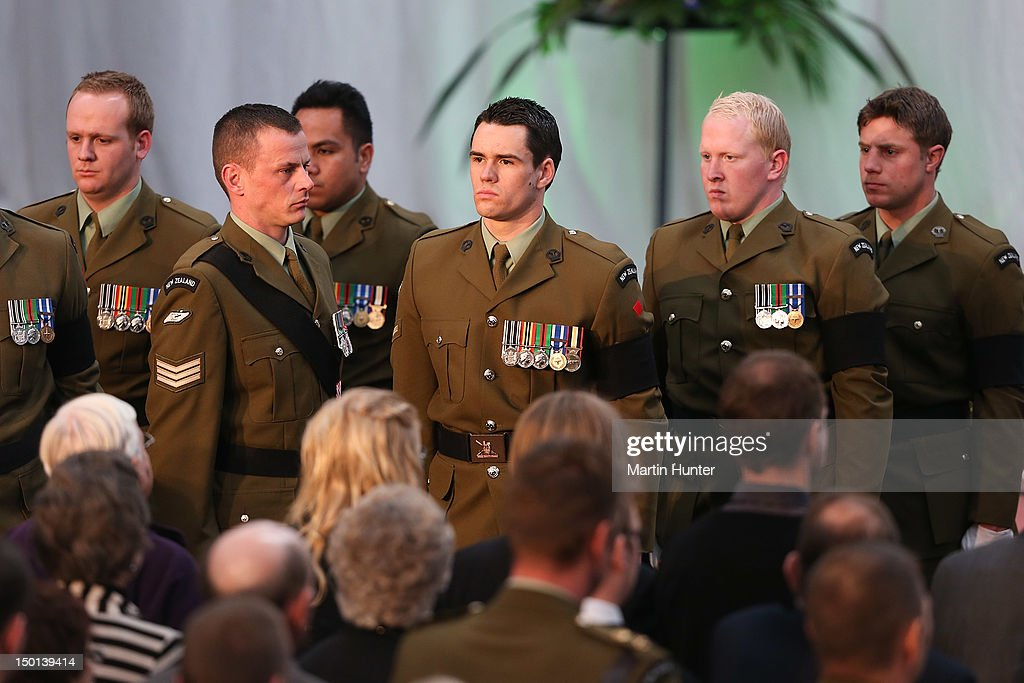 Members of Lance Corporal Pralli Durrer unit during the Military Commemorative Service for LCPL Durrer and LCPL Malone at Burnam Military Camp on August 11, 2012 in Christchurch, New Zealand. The bodies of the two New Zealand soldiers killed in Afghanistan arrived in Christchurch last night. Private funeral services will then be held by their families.