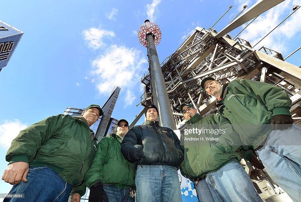 Members of Landmark Signs & Electric New Year's Eve Ball Crew (L-R) Glen Hartman, Felix Ortega, John Trowbridge, Nick Bonavita and Brian Boisjolie attend the New Year's Eve Ball Relighting at One Times Square on January 3, 2013 in New York City.