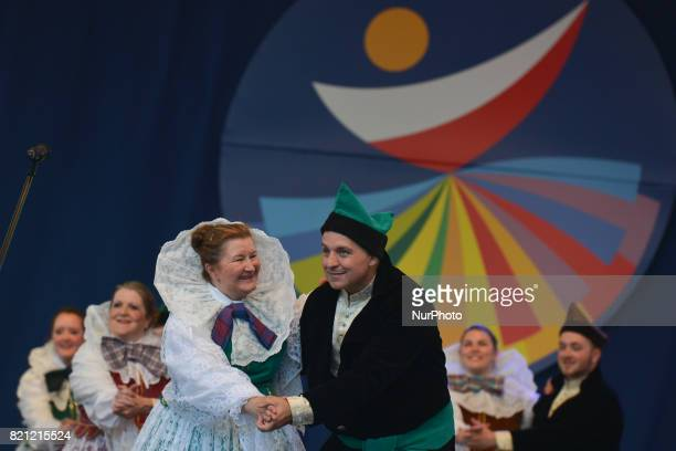 Members of 'Lasowiacy' group from Winterthur Switzerland during their performance on the first day of the 17th edition of World Festival of Polish...