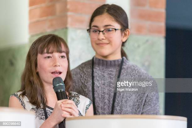 Members of Le Petit Cirque Youth Performance Company attend the press conference ahead of the Nobel Peace Prize Concert 2017 at the Norwegian Nobel...