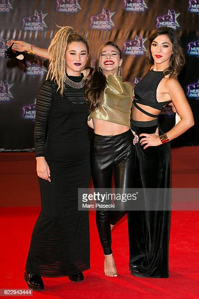 Members of 'LEJ' Juliette Saumagne Elisa Paris and Lucie Lebrun attend the 18th NRJ Music Awards at Palais des Festivals on November 12 2016 in...