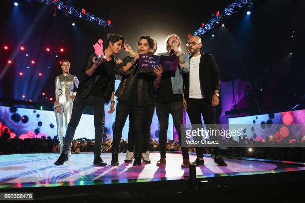 Members of Lola Club speak on stage during the MTV MIAW Awards 2017 at Palacio de Los Deportes on June 3 2017 in Mexico City Mexico