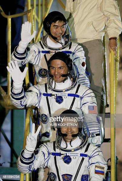 Members of main crew expedition 44/45 to International Space Station NASA astronaut Kjell Lindgren Japanese astronaut Kimiya Yui and Russian...