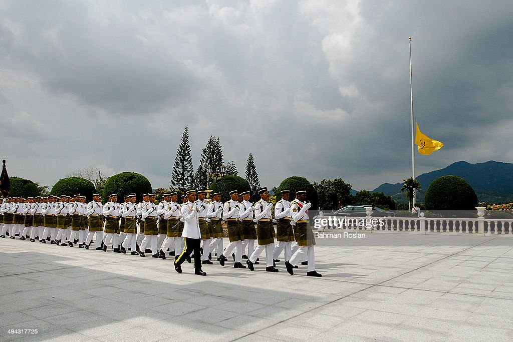 Members of Malaysian Armed Forces prepare to kick start the ceremony during Sultan Azlan Shah's royal burial on May 29 2014 in Kuala Kangsar Perak...