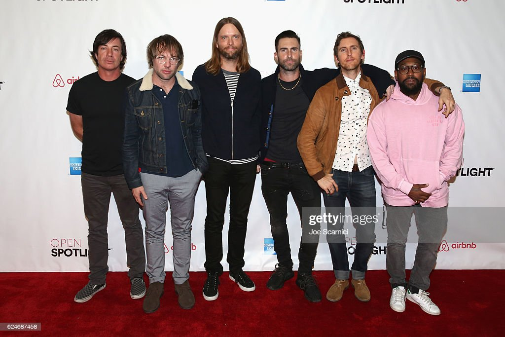 Members of Maroon 5 Matt Flynn, Mickey Madden, James Valentine, Adam Levine, Jesse Carmichael and PJ Morton during a meet and greet at Airbnb Open LA - Day 3 on November 19, 2016 in Los Angeles, California.