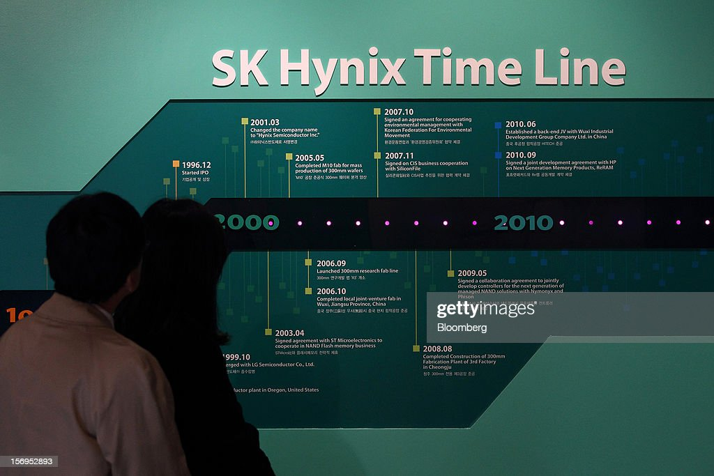 Members of media look at a display showing SK Hynix Semiconductor Inc.'s time line during a media tour organized by Korea Industrial Complex Corp. (KICOX) to the company's plant in Cheongju, South Korea, on Friday, Nov. 23, 2012. KICOX, which develops and manages industrial complexes and support for resident enterprises as a public company under South Korea's Ministry of Knowledge Economy, held a media tour to the plant. Photographer: SeongJoon Cho/Bloomberg via Getty Images