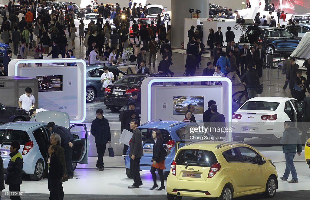 Members of media participate at Press Day for Seoul Motor Show 2013 on March 28, 2013 in Goyang, South Korea. The Seoul Motor Show 2013 will be held in March 29-April 7, featuring state-of-the-art technologies and concept cars from global automakers. The show is its ninth since the first one was held in 1995. About 384 companies from 14 countries, including auto parts manufacturers and tire makers, will set up booths to showcase trends in their respective industries, and to promote their latest products during the show.