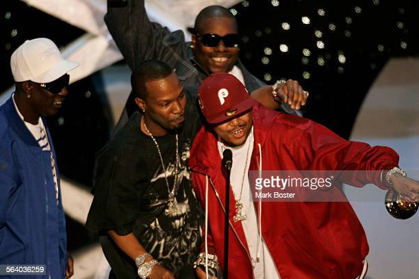 Members of Memphis rap group Three 6 Mafia left to right Darnell Crunch Black Carlton Jordan 'Juicy J' Houston Paul 'DJ Paul' Beauregard and...