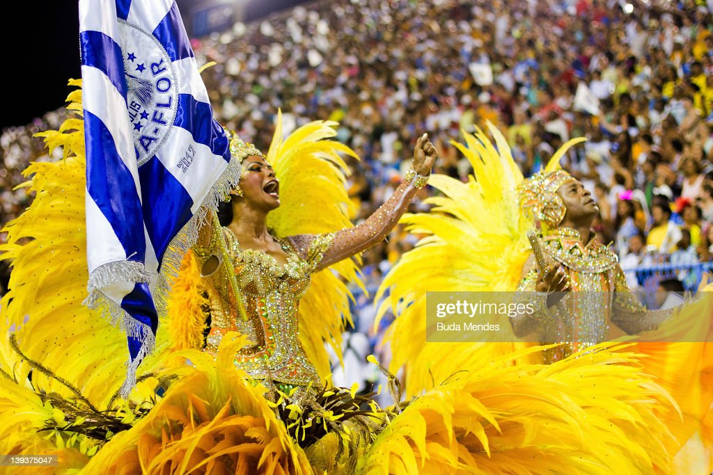 Members of Mocidade dance during the samba school's parade group A at Rio de Janeiro's carnival on February 20, 2012 in Rio de Janeiro, Brazil. Carnival is the biggest and most popular celebration in Brazil, running all over the country from February 17 to 21.