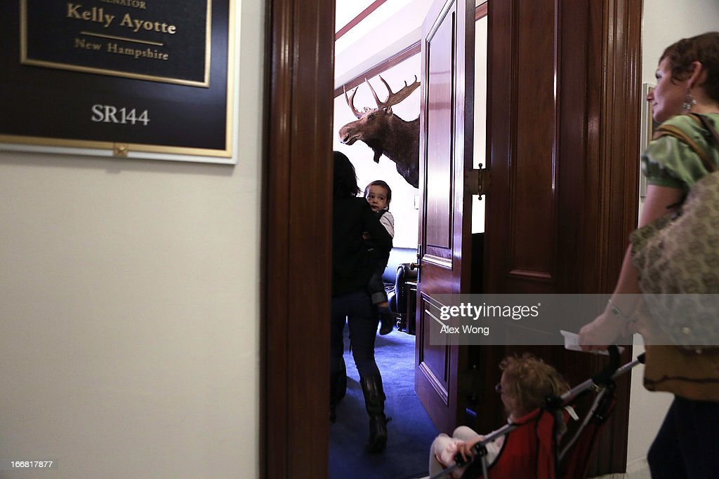Members of Moms Demand Action for Gun Sense in America enter the office U.S. Sen. Kelly Ayotte (R-NH) at Russell Senate Office Building April 17, 2013 on Capitol Hill in Washington, DC. The group held a 'Stroller Jam' event to call on senators to vote to strengthen gun regulations.