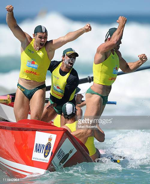 Members of Mona Vale SLSC celebrate winning the Open Men's Boat Race final during the 2011 Australian Surf Lifesaving Championships at Kurrawa Beach...